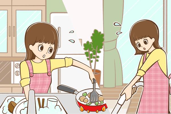料理と掃除をしているイメージ